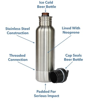 2016 new products insulated stainless steel beer bottle holder,20oz stainless steel colder bottle,portable cola bottle holder