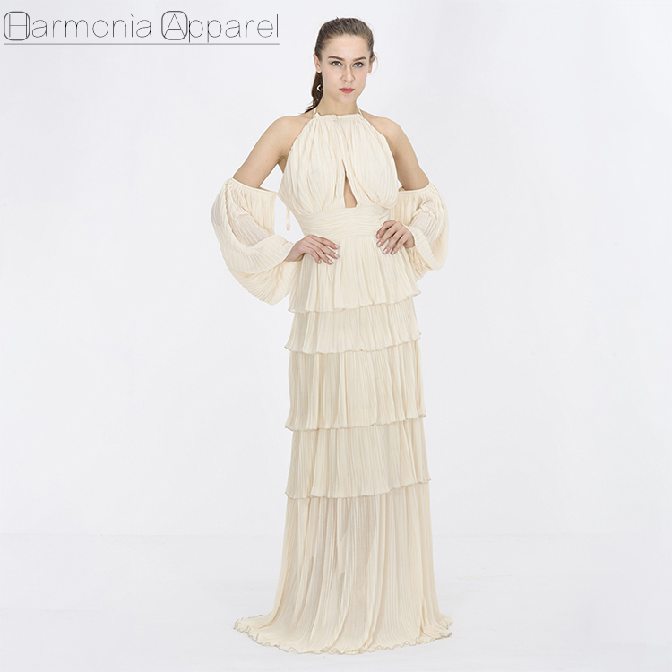 FL395 banana cleam color new design puffy sleeve slash neck off the shoulder pleated layered long women gown evening dresses