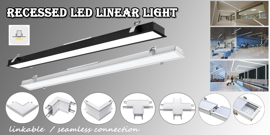Pendant Suspend Recessed Dimming LED Linear Light with 35mm height