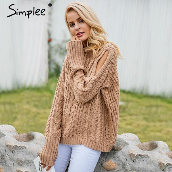 Simplee autumn winter women cold shoulder knitting high collar sweater jumper
