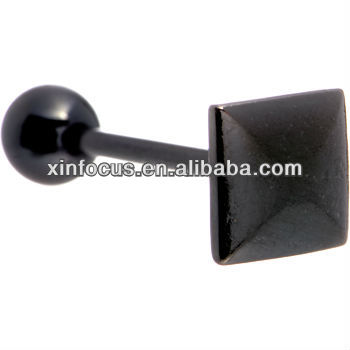 Optional Color Raised Square Anodized Titanium Tongue Rings