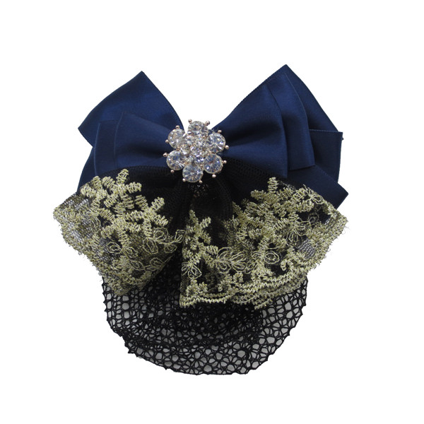 Women's Bling Cover Net Snood Navy Bowknot Decor Barrette Hair Clip