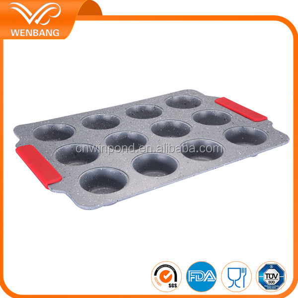 12 cups custom promotional carbon steel marble color microwave non-stick muffin baking pan with silicone handle