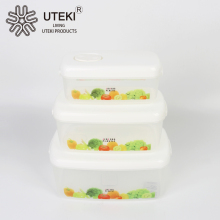 Rectangle microwave plastic fresh preserving box 3 pcs sets