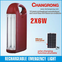 rechargeable hand crank and solar lamp with 2*6W fluorescent tube