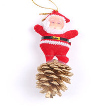 Christmas santa and pine cones christmas tree hanging decorations
