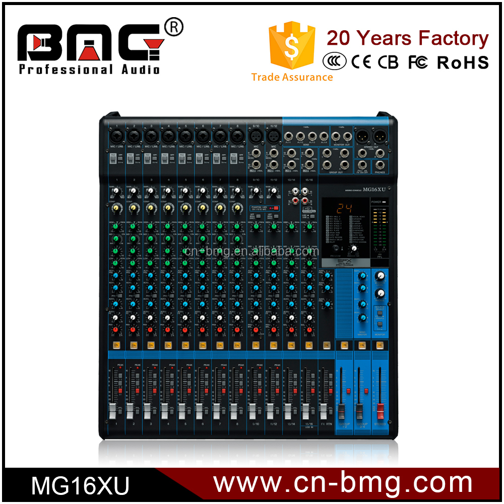 BMG Wholesale MG16XU Professional 16 Channel Audio Mixer/Sound Mixer/Mixing Console with iphone connector
