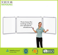 Three writing surface Magnetic Folding white board of aluminum frame supplied with mounting kits