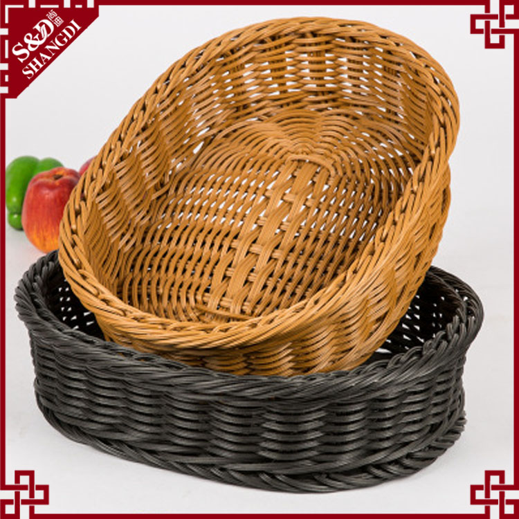 Wholesale eco-friendly Supermarket brown black rattan vietnam storage weaving fruit basket