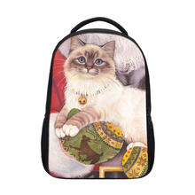 2017 <strong>fashion</strong> 600D kids animal small rucksack backpack cute colorful cat head laptop backpack for children