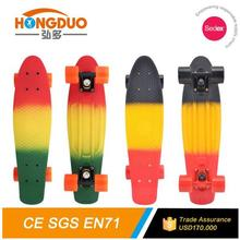3 color Plastic fish board skateboard with big PU wheels