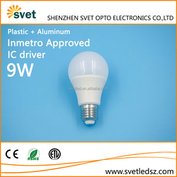 Inmetro approved high PF value and low light degradation IC driver 9W led bulb light