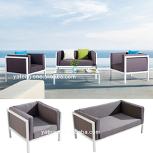 Contemporary white color garden patio powder coated aluminum sofa set furniture