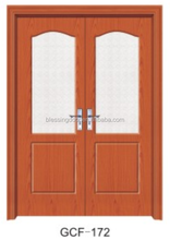 Hot selling mdf pvc wood glass commercial double doors used for sale