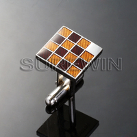 20mm custom epoxy coated square metal party cuff link