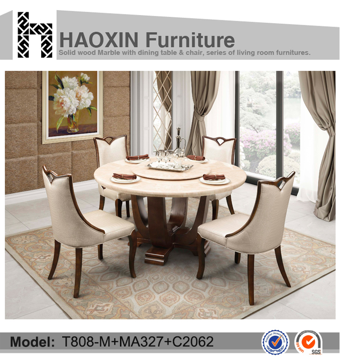 Durable Dining Room Round Marble Table With Wooden Table Base And Chairs Bu