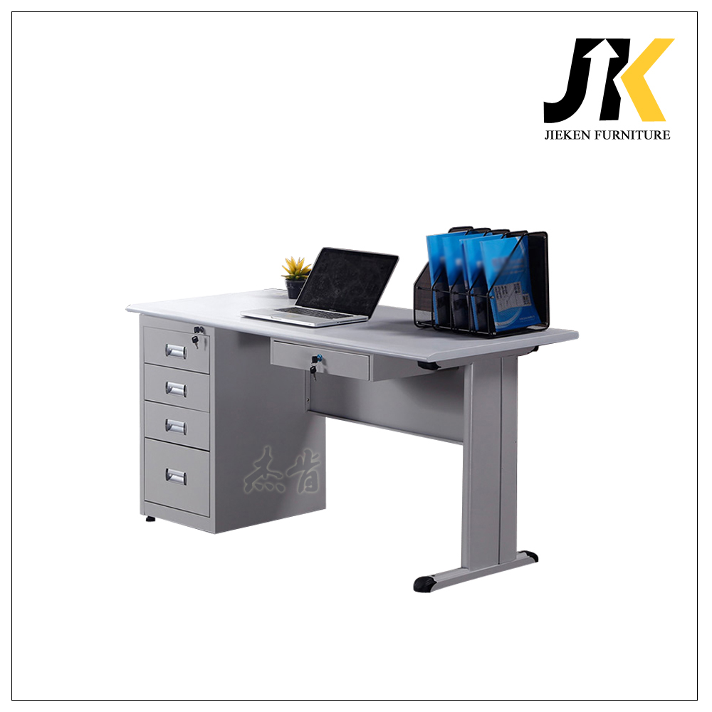 steel office director table with under file cabinet design