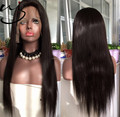 China factory cheap in stock 9A Indian human hair long natural color 22inch silky straight lace front wig for black white women