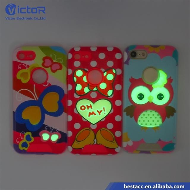 Special OEM logo Luminous 3D Drop Glue 2 in 1 Phone Cases for iPhone 7