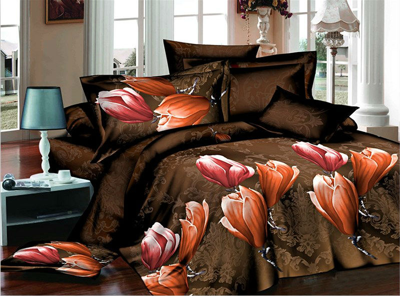 100% polyester reactive printed 3pc bedding set