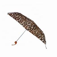 leopard fabric customized printing 3 folding rainy umbrella with wooden handle
