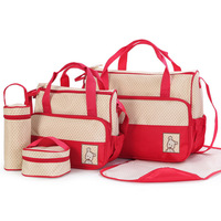 Trendy Multifunctional Big Volume Light Diaper Bag for Mummy Polka Dot Diaper Bag 5 pieces suit