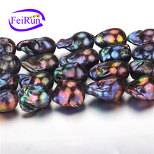15mm AA large black nucleated baroque fireball peacock color pearl strand