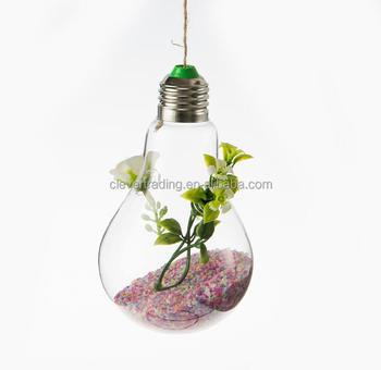 hand blown bulb light shape glass vase for weddings. Black Bedroom Furniture Sets. Home Design Ideas