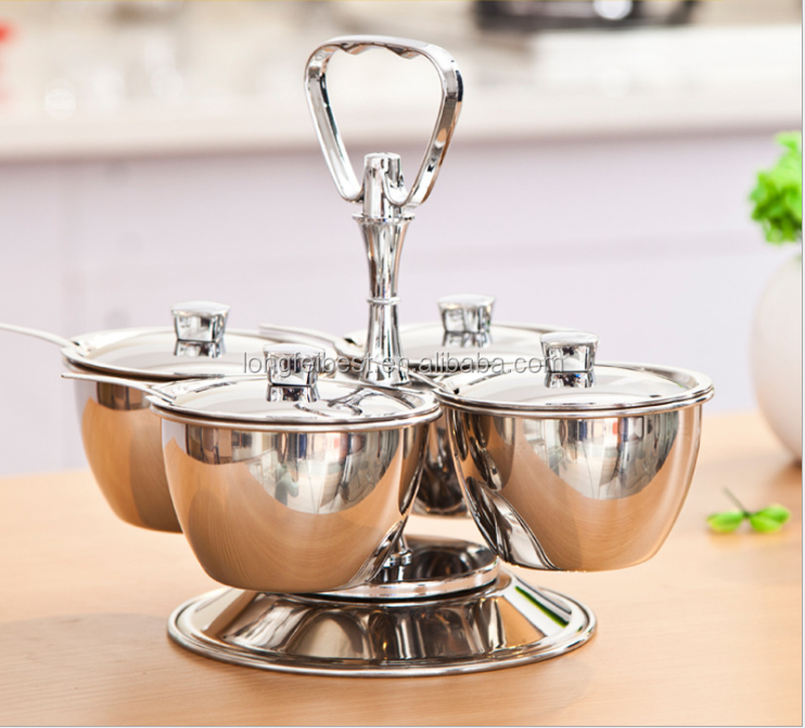 4pcs Stainless Steel 304 Spice Jar Salt Container With Rack