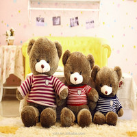 Handmade Giant plush teddy bear soft toys with strip sweater wholesale with small MOQ
