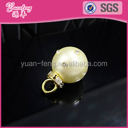 fashion jewelry accessories round abs pearl beads with rhinstone custom jewelry findings