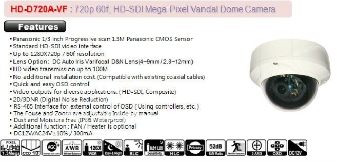 Top 720p 60f, HD-SDI Mega Pixel Standard DOME Camera