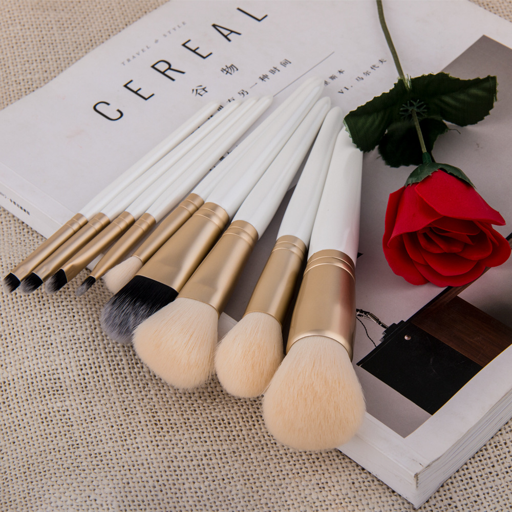 Professional high quality 9 pcs white handle makeup brushes with zip bag private label makeup brushes