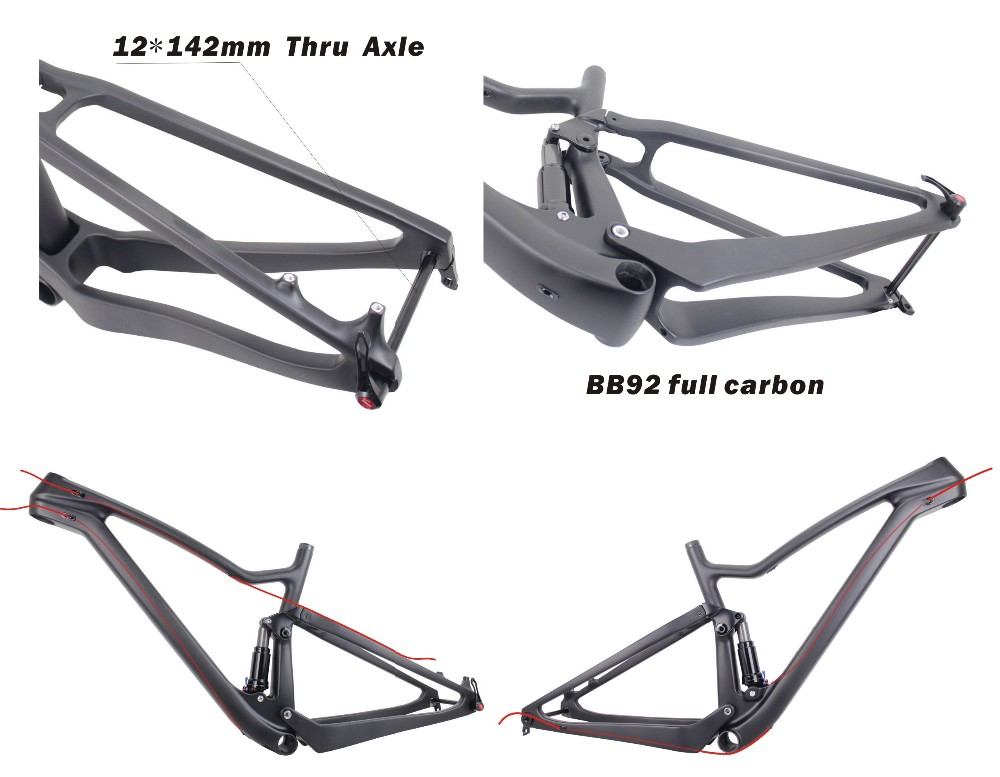 T700 Full Carbon MTB Frame 29er,180mm Rotor disc brake Full suspension mountain Bike Frame,Chine 29ER MTB Carbon Frame