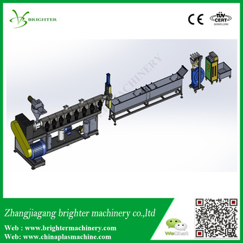 Vertical force feeding, single stage , strand type grind pe film granulation line