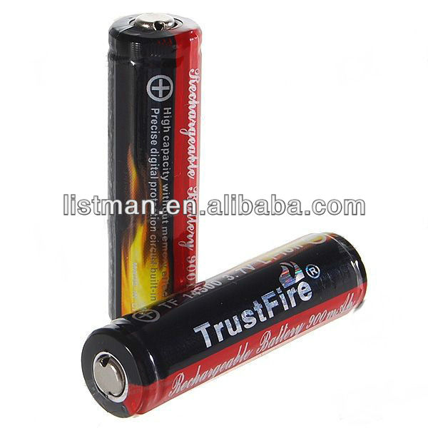 Trustfire 14500 Battery 900mah With pcb blk/red aa size lithium batteries