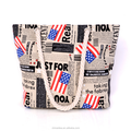 2017 New style fashion leisure canvas beach bag Lady cotton rope beach tote bag with a flag pattern