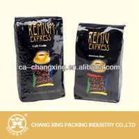 glossy foil cblack coffee bags with valve and tin tie,coffee bag with design