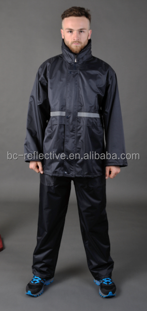 High Quality Men's Nylon Waterproof Breathable Black Hooded Rain Suit