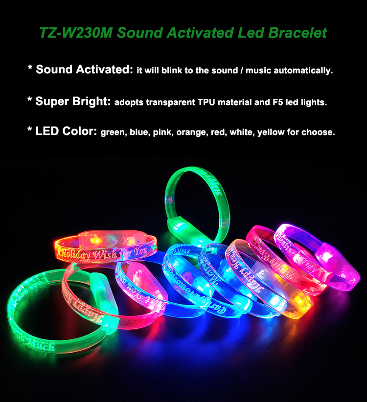 2017 Best Price Factory Wholesale Silicon Flashing Light Up Led wristband TZ-W230M