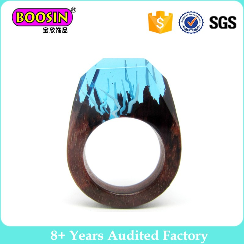 Fashion rings wood resin rings jewelry for men and women