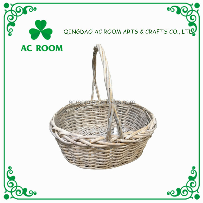 AC ROOM cheap wicker flower/gift basket with handle