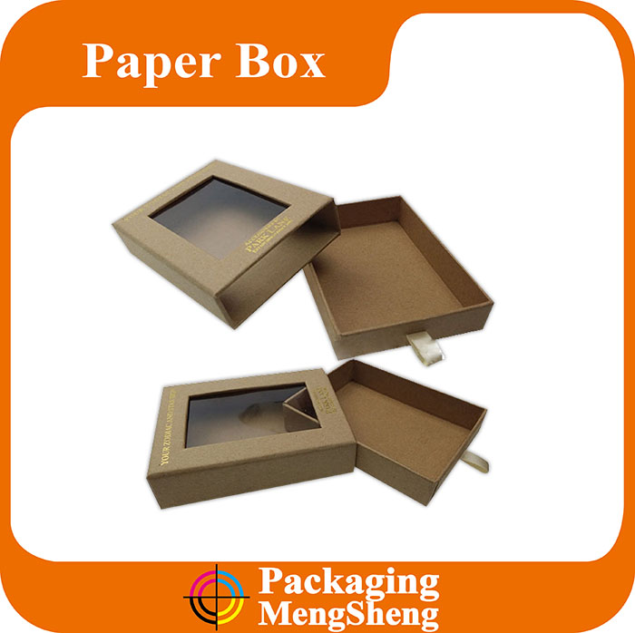 New Style Paper Gift Pull Drawer Packaging Box with Transparent PVC Window