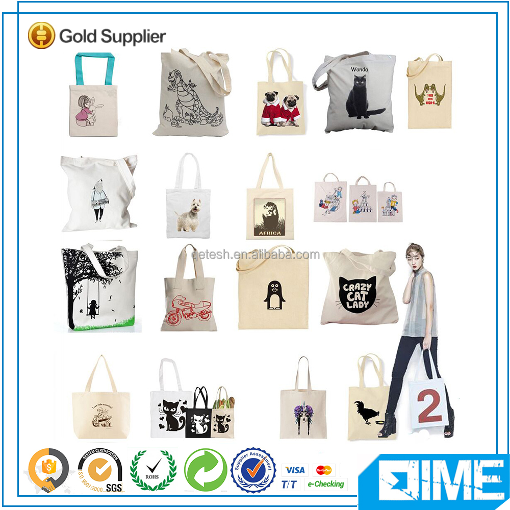 Custom retail packing recyclable foldable cotton shopping pouch bag