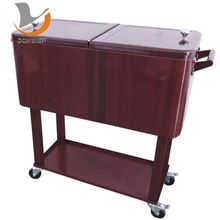 With A Table Cooler Box With Rolling Patio Cooler Cart