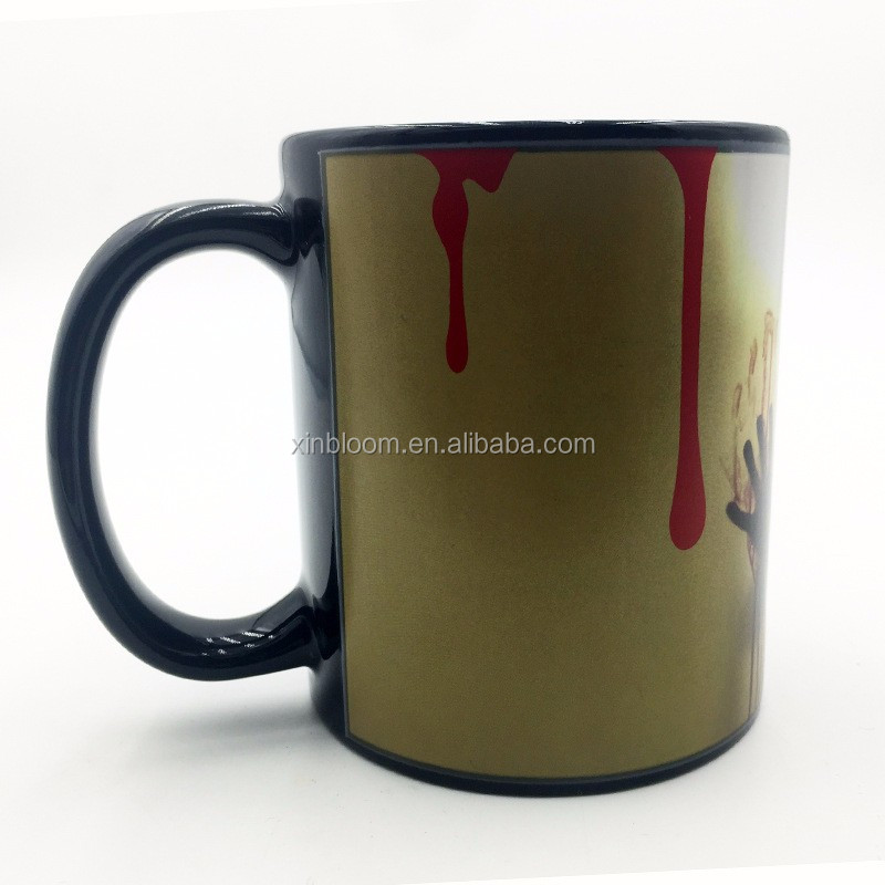 horrible pattern zombie walking dead ceramic color changing magic mug