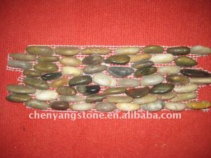 multi-color stacked polished pebble tile