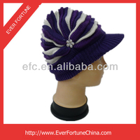 100% Acrylic strip warm knitted winter hat with peak funny crazy winter hats