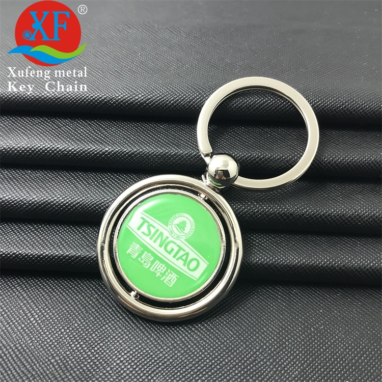 high quality round custom logo printing marvel rotate zinc alloy metal key chain