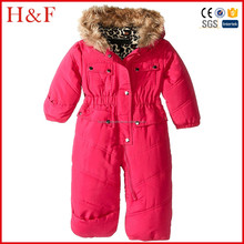 Faux fur hood kids snowsuit baby jumpsuit outdoor cheap infant clothing